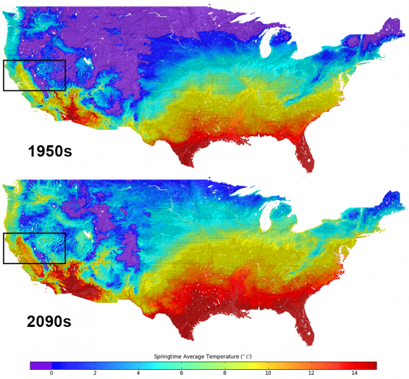 Average temperatures in the United States. Top, what they were in the 1950s. Bottom, the predictions for the 2090s. Credit: NASA