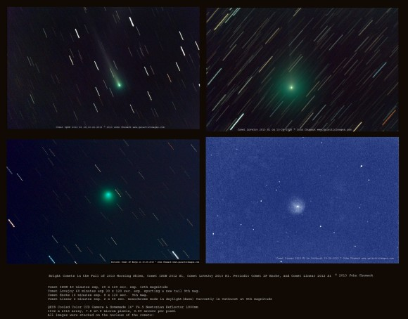 Four comets captured in one morning! Clockwise from top left: Comet ISON 2012 S1; Lovejoy C/2103 R1;, 2P ENCKE, Linear 2012 X1. Credit and copyright: John Chumack/Galactic Images.