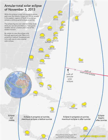 Eclipse prospects for the US East Coast. (Courtesy of Michael Zeiler @EclipseMaps)