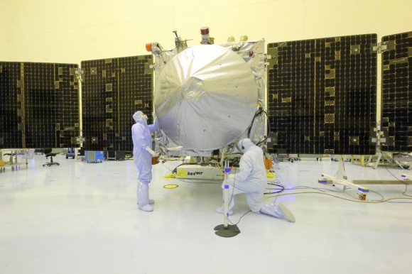 Technicians resumed spacecraft preparations for NASA's MAVEN orbiter today (Oct. 3) towards meeting the hoped for Nov. 18 launch to Mars after receiving an 'emergency exemption' from forced furloughs.  The Oct. 1 US Government shutdown had stopped all work on MAVEN and other NASA missions. Credit: Ken Kremer/kenkremer.com