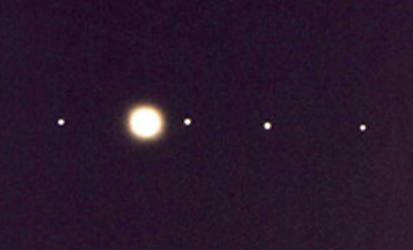 Jupiter and its four brightest moons seen in a small telescope. Credit: Bob King