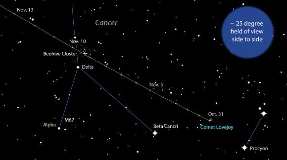 Comet Sky Map Detailed Map Showing Comet