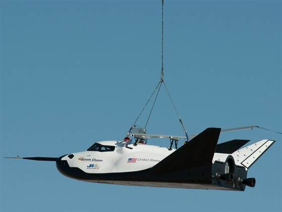 Sierra Nevada Dream Chaser engineering test article in flight during a captive-carry test this past summer.   Credit: NASA