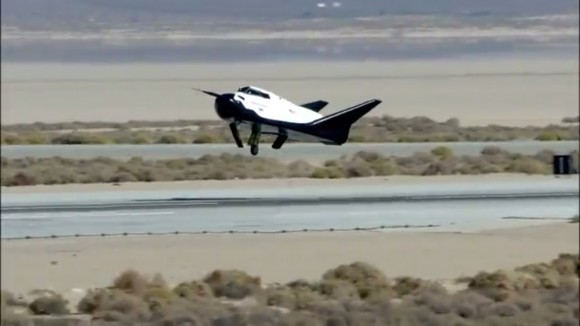 Left landing gear failed to deploy as private Dream Chaser spaceplane approaches runway at Edwards Air Force Base, Ca. during first free flight landing test on Oct. 26, 2103.   Credit: Sierra Nevada Corp.  See video below