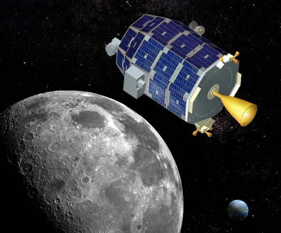 NASA's LADEE lunar orbiter will firing its main engine on Oct. 6 to enter lunar orbit in the midst of the US government shutdown. Credit: NASA