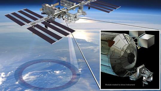 Artist's conception of how ISS-RapidScat will work. Credit: NASA/JPL-Caltech/Johnson Space Center