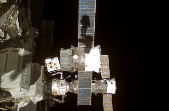 Clay Anderson's shadow during a spacewalk he took in July 2007, while he was part of Expedition 15. Credit: NASA
