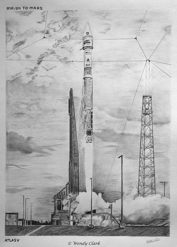 An original drawing of the launch of the MAVEN spacecraft on November 18, 2013. Credit and copyright: Wendy Clark.