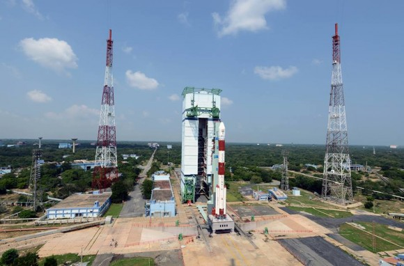 Gorgeous view of the majestic Polar Satellite Launch Vehicle, PSLV C25 with its passenger, the Indian Space