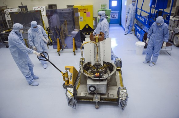 MSL's MMRTG in the laboratory. (Credit: NASA).
