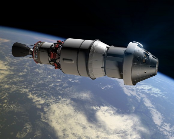 An artist concept shows Orion as it will appear in space for the Exploration Flight Te