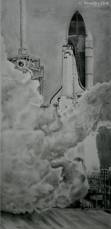An original graphite drawing of the final launch of the space shuttle program, STS-135. Credit and copyright: Wendy Clark.
