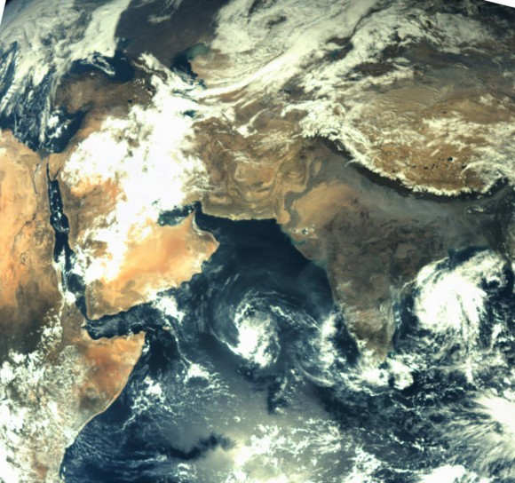 First image taken by the Mars Color Camera aboard India's Mars Orbiter Mission (MOM) spacecraft while orbiting Earth and before the Trans Mars Insertion firing on Dec. 1, 2013. Image is focused on the Indian subcontinent.  Credit: ISRO