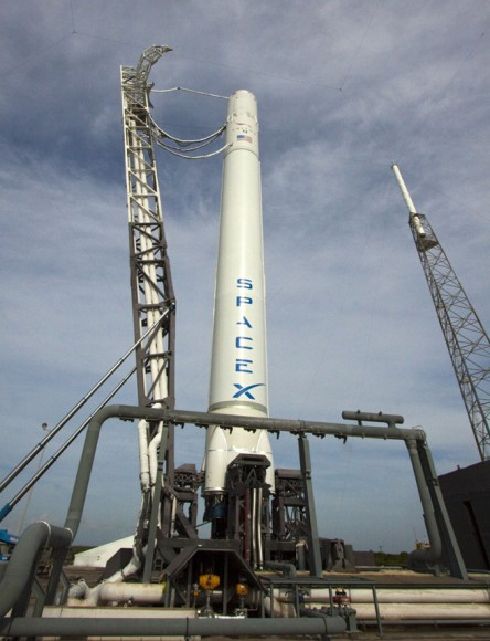 Falcon 9 during processing at Cape Canaveral Pad 40 ahead of launch scheduled for Nov. 25, 2013.  Credit: SpaceX