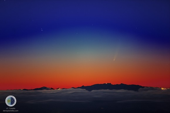 "This beautiful photo of Comet ISON was taken from a mountaintop observatory with a 300mm lens by Juan Carlos Casado of Spain on Nov. 24, 2013. Casado ""stacked"" or composited four photos to enhance the brightness of the comet against twilight. Click to enlarge."
