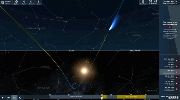 "Frame grab from the ""Earth view"" of Comet ISON from Inove's simulator. The horizontal line is the horizon and the comet's position is shown around 5:30 a.m. at the start of dawn today Nov. 15. The sun is in Libra and still well below the horizon at that time. Credit: INOUVE"