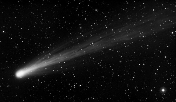 A widefield view of Comet ISON, taken from New Mexico Skies at 11h 59m UT on Nov. 15, 2013 using an FSQ 106 ED telescope and STL11K camera on a PME II mount. 1 x 10 min exposures. Credit and copyright: Joseph Brimacombe.