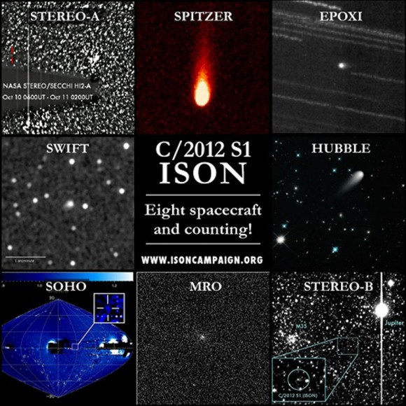 The Comet ISON Observing Campaign is both terrestrial and celestial. Nine different NASA and ESA spacecraft, eight of which are shown here, have observed comet ISON so far. Credit: NASA/ESA
