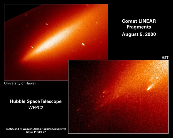 Hubble Space Telescope image of comet C/1999 S4 (LINEAR) that disintegrated around July 23, 2000. Credit: NASA/ESA