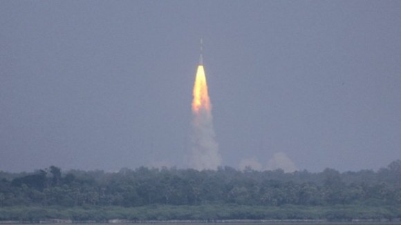Launch of India's Mars Orbiter Mission (MOM) on Nov. 5, 2013 from Sriharikota, India. Credit: ISRO