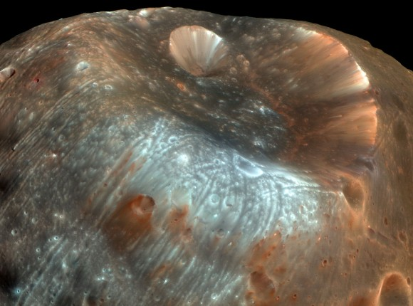 The streaked and stained surface of Phobos. Russia's second sample-return attempt may end up sending back bits of both Phobos AND Mars. (Image: NASA)