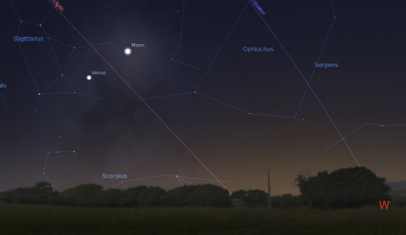 Venus and the waxing crescent Moon, looking to the west tonite at 30 minutes after sunset for latitude 30 degrees north. (Created using Stellarium).