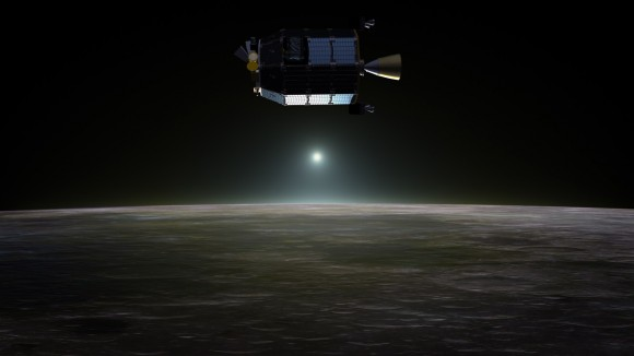 Artist's concept of NASA's Lunar Atmosphere and Dust Environment Explorer (LADEE) spacecraft in orbit above the moon as dust scatters light during the lunar sunset. Credit: NASA Ames / Dana Berry