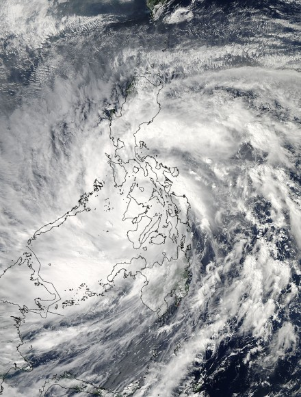 As Super-Typhoon Haiyan moved over the central Philippines on Nov. 8 at 05:10 UTC/12:10 a.m. EDT, the MODIS instrument aboard NASA's Aqua satellite captured this visible image.   Credit: