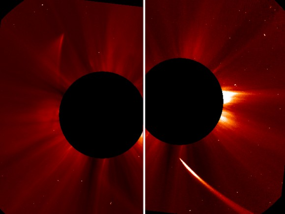 """After its closest approach to to the sun on Nov. 28 (left), Comet ISON appeared a dim shadow of its former self (at right). """"The comet may still be intact,"""" NASA wrote on Nov. 29. Images from the Solar and Heliospheric Observatory. Credit: ESA/NASA/SOHO/Jhelioviewer"""