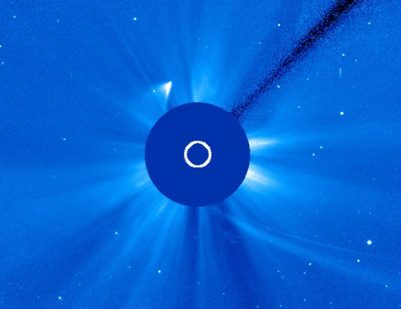 Image from SOHO indicates a chunk of Comet ISON has survived its close pass of the Sun. Credit: NASA/ESA/SOHO.