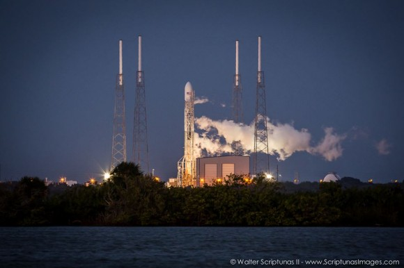 A SpaceX Falcon 9 V1.1 rocket vents oxygen following Thursday evenings first launch attempt from Launch Complex 40 at Cape Canaveral Air Force Station. The first attempt was halted after computers showed that the engines had a slower than expected thrust rate upon startup. Credit: Walter Scriptunas II images