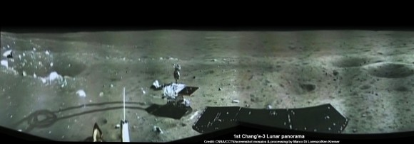 Portion of 1st panorama around Chang'e-3 landing site after China's Yutu rover drove onto the Moon's surface on Dec. 15, 2013. The images were taken by Chang'e-3 lander following Dec. 14 touchdown. Panoramic view was created from screen shots of a news video assembled into a mosaic. Credit: CNSA/CCTV/screenshot mosaics & processing by Marco Di Lorenzo/Ken Kremer See the complete panorama below   Story updated