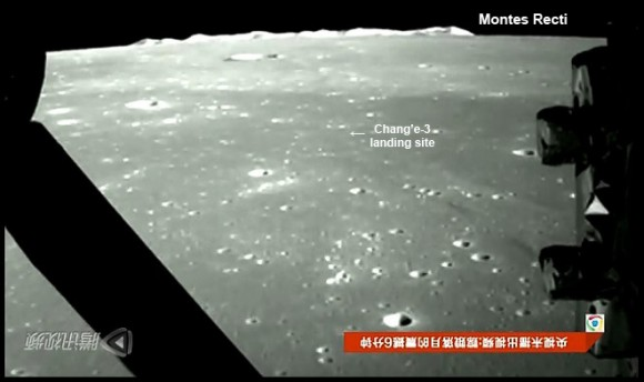 This screen shot from one photo of many of the moons surface snapped by the on-board descent imaging camera of the Chinese lunar probe Chang'e-3 on Dec. 14, 2013 shows the probe approaching the Montes Recti mountain ridge and approximate location of the landing site. This marks the first time that China has sent a spacecraft to soft land on the surface of an extraterrestrial body. Credit: Xinhua/CCTV/post processing and annotations Marco Di Lorenzo /Ken Kremer.  See the entire stunning Chang'e-3 lunar landing video – below