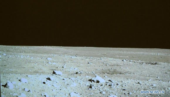 Lunar landscape photographed by the Chang'e 3 lander on Dec. 15, 2013. Credit: CCTV