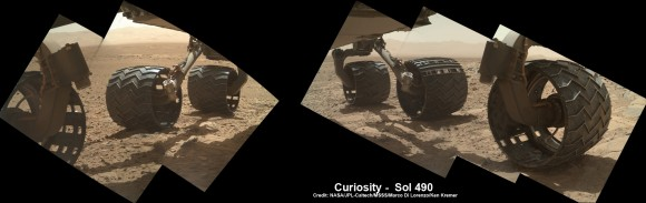 Photomosaic shows new holes and tears in several of rover Curiosity's six wheels caused by recent driving over sharp edged Martian rocks on the months long trek to Mount Sharp. Raw images taken by the MAHLI camera on Curiosity's arm on Dec. 22, 2013 (Sol 490) were assembled to show rover's underbelly and some recent damage to several of its six wheels - most noticeably the two at right in middle and front. Far fewer holes are visible in imagery  captured earlier in the Curiosity's Martian traverse - see below. Credit: NASA / JPL / MSSS / Marco Di Lorenzo / Ken Kremer- kenkremer.com   See below more wheel mosaic