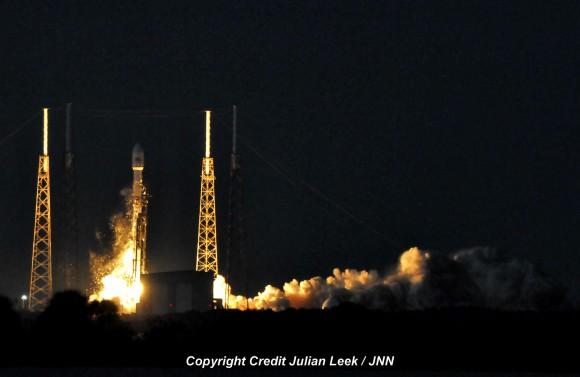 Blastoff of Falcon 9/SES-8 satellite on Dec. 3, 2013.  Credit: Julian Leek