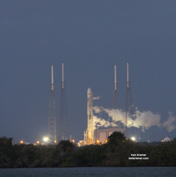 Next Generation SpaceX Falcon 9 rocket with SES-8 communications satellite erected before  launch at Pad 40 at Cape Canaveral, FL. Credit: Ken Kremer/kenkremer.com