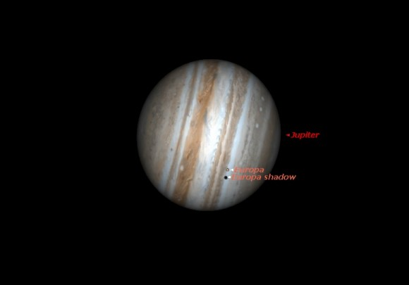 Europa just beginning to cast a shadow off to one side shortly after opposition on January 8th at 7:30PM EST. (Created by the author using Stellarium).