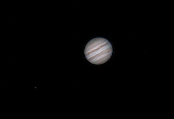 Jupiter+moon imaged recently by Paul Cotton (@paultbird66) of Lincolnshire, England. Used with permission.