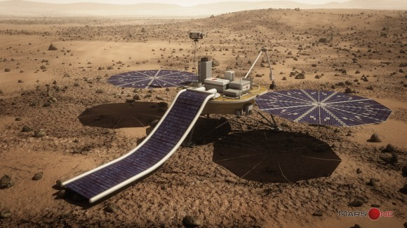 Mars One proposes Phoenix-like lander for first privately funded mission to the Red Planet slated to blastoff in 2018.  This film solar array experiment would provide additional power. Credit: Mars One