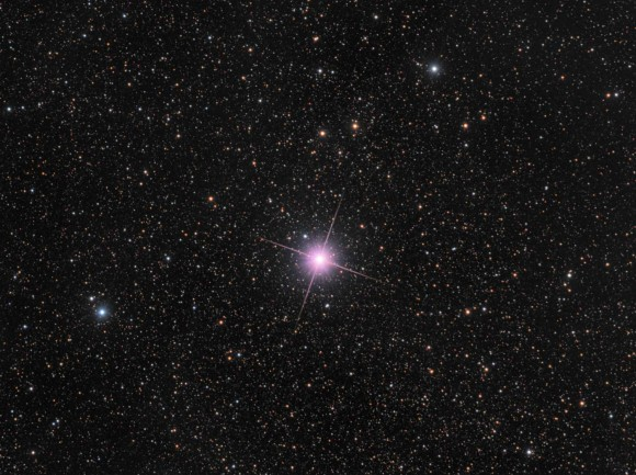 This image taken on Dec. 28, 2013 from New Zealand shows Nova Centauri 2013, a bright naked eye nova in the Southern constellation of Centaurus. The nova appears pink because of emissions from ionised hydrogen. Credit and copyright: Rolf Wahl Ols