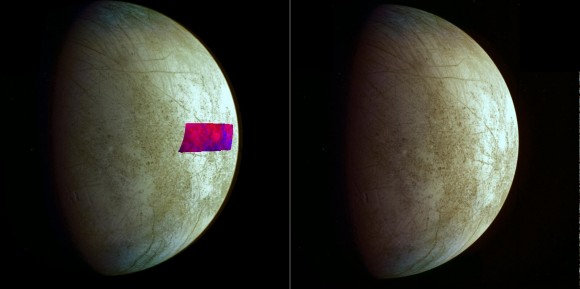 Jupiter's moon, Europa, appears to have clay-like minerals on it (visible in blue in the false-color patch, amid red-colored water ice). The information came from new data analysis from NASA's Galileo mission, which concluded in 2003. The backdrop is a mosaic of visual-light images from Galileo's Near-Infrared Mapping Spectrometer. Credit: NASA/JPL-Caltech/SETI