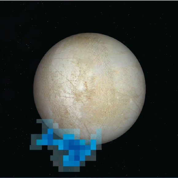 Rendering showing the location and size of water vapor plumes coming from Europa's south pole. Credit: NASA/ESA/L. Roth/SWRI/University of Cologne