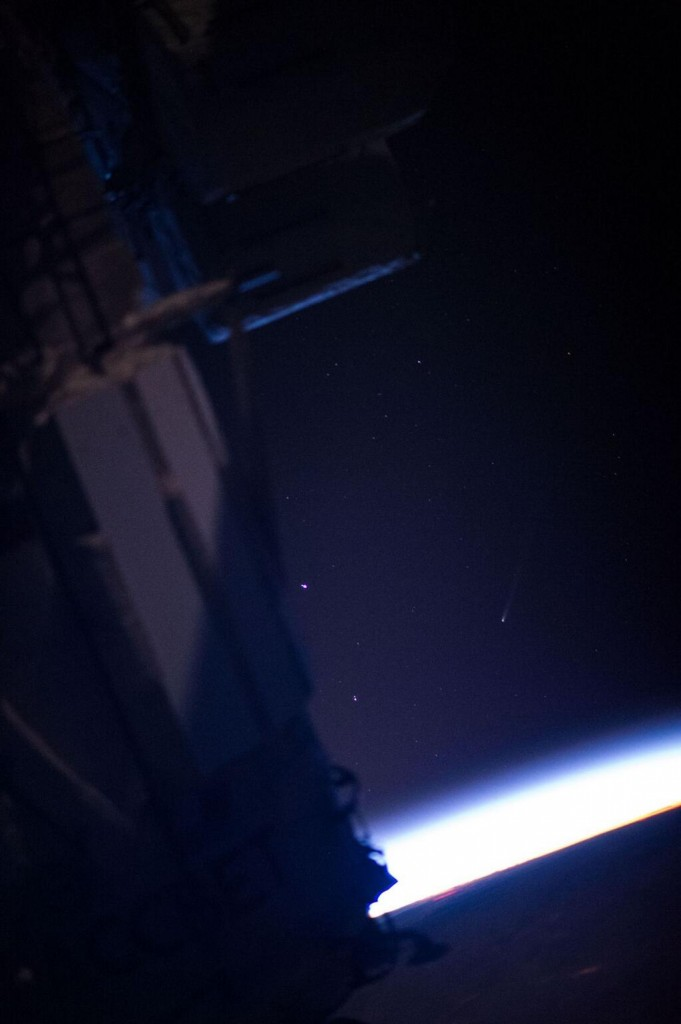 Comet ISON, seen from the International Space Station over Ontario, on Nov 23, 2013 at about  85-mm, 10:08 UTC. Credit: NASA, via Peter Caltner.