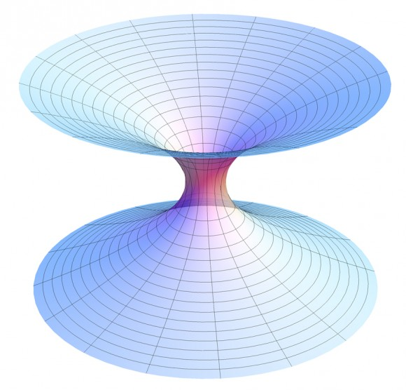 Diagram of a wormhole, or theoretical shortcut path between two locations in the universe. Credit: Wikipedia