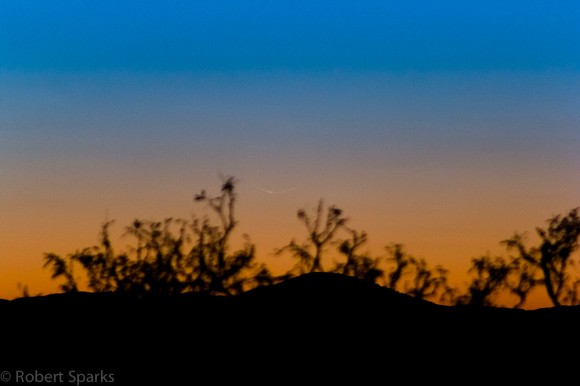 Can you spot the razor thin crescent Moon? Image credit: Rob Sparks.