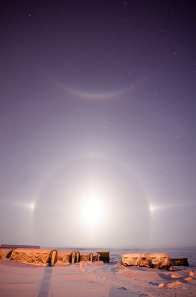 "The Full Moon, a ""Moon Dog"" halo, and a rare parhelic (or do you say Palunic?) arc as seen from North Slope Borough County, Alaska. Credit-Jason Ahrns."