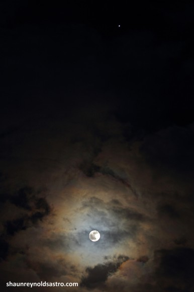 The Full MiniMoon, clouds, and Jupiter. Credit- Shaun Reynolds, Bungay UK.