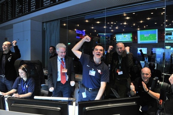 The Rosetta team at ESA's space operations center in Darmstadt reacts after receiving a signal from the spacecraft. Credit: ESA.
