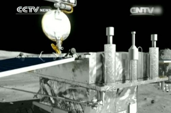 "The ""Yutu"" rover and the Chang'e-3 lander began functioning again on Jan 11 & 12, 2014 in this artists concept. Both had become dormant to ride out the harsh conditions on the moon. Credit: CNSA/CCTV"
